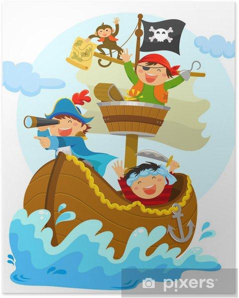 Poster Gelukkig piraten varen in hun schip - Muursticker