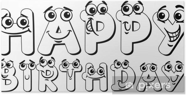 poster gelukkige verjaardag teken kleurplaat pixers
