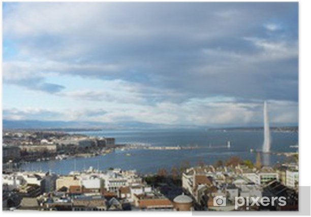 Poster Genève panorama de la ville, Suisse - Europe
