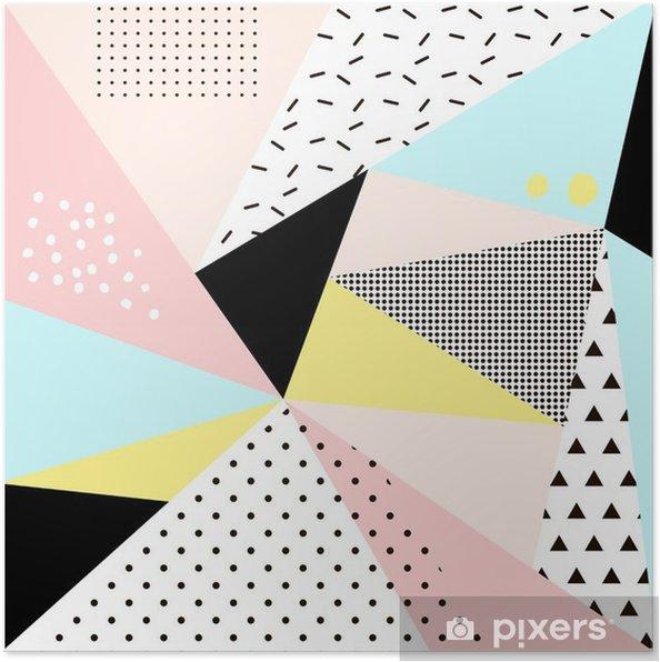 Poster Geometrique Conception Memphis BackgroundRetro Pour Invitation Carte De Visite Affiches Ou Des Bannieres
