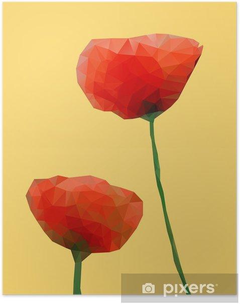 Poster Géométrique fleur de pavot - Fleurs