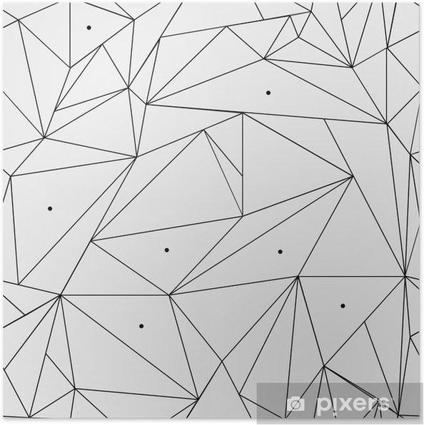 Poster Geometrische eenvoudige zwart-wit minimalistische patroon, driehoeken of glas-in-lood raam. Kan worden gebruikt als achtergrond, achtergrond of textuur. - Grafische Bronnen