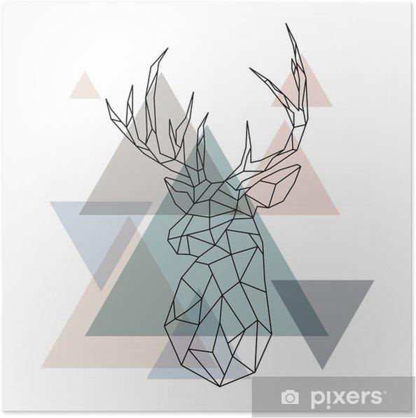 Poster Geometrische rendieren illustratie - Dieren