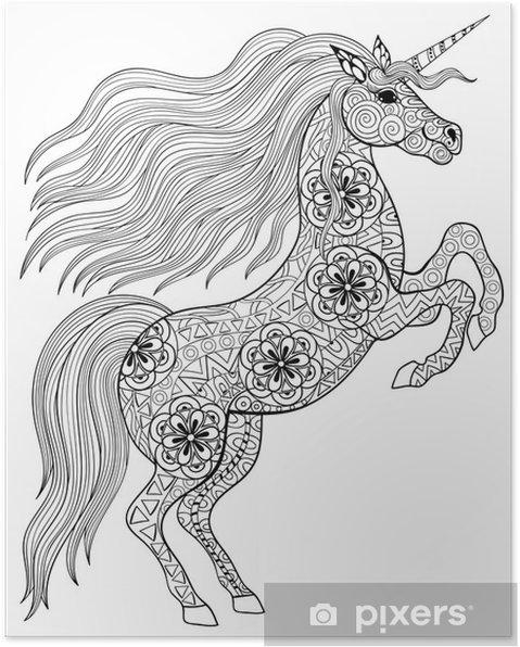 Volwassen Paarden Kleurplaten Poster Getrokken Magic Unicorn Voor Volwassen Anti Stress