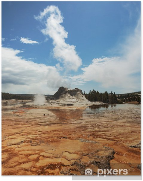 Geyser in Yellowstone Poster - Nature and Wilderness