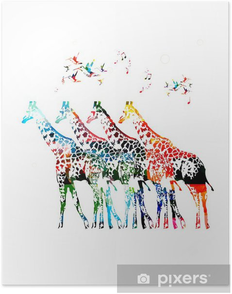 Poster Giraffe silhouettes vecteur - Signes et symboles