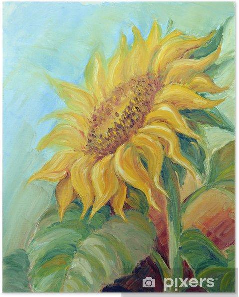 Póster Girasol, pintura al óleo sobre lienzo - Girasoles