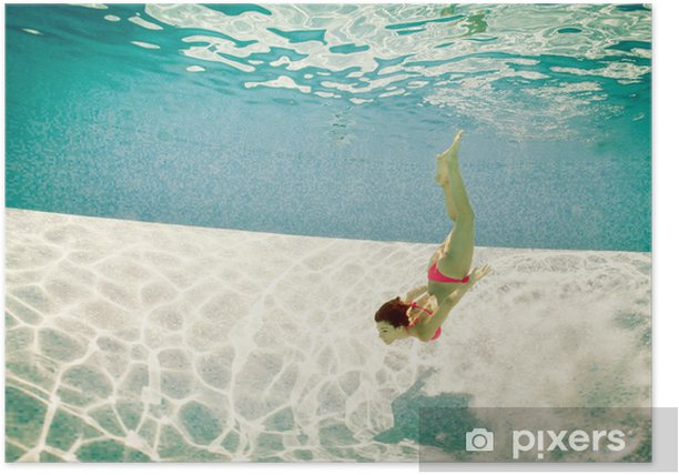 Girl portrait underwater with pink bikini in swimming pool. Poster