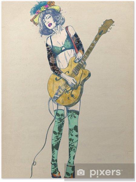 Poster Gitarist - Spannende schoonheid. - jazz