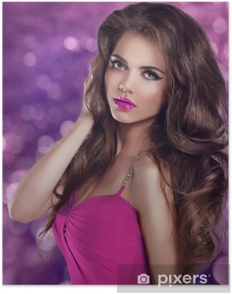 Poster Glamour femme mode portrait. Longue Cheveux ondulés et maquillage sexy. - Beauté et soins du corps