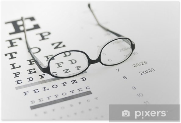 31753d343755 Glasses on eye chart Poster • Pixers® • We live to change