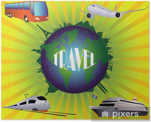 Poster Globe avec des vues sur le fond de rayonnement - Signes et symboles