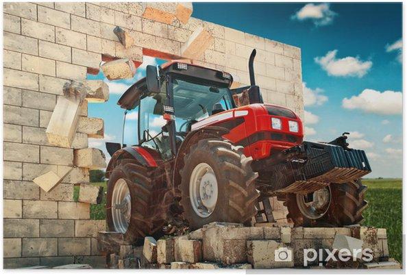 Poster Gloednieuwe tractor doorbreken van de muur - Thema's
