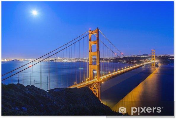 Poster Golden gate bridge la nuit à San Francisco - Infrastructures