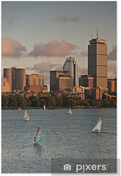 Golden Sunset over Boston Poster - Themes