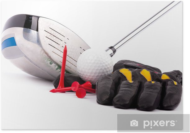 Golf Glove Ball tees and club Poster - Golf