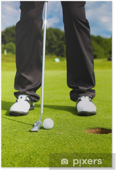 Golf player putting ball in hole Poster - Golf