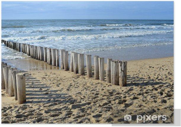 Poster Golfbrekers op het strand van de Noordzee in Domburg Nederland - Thema's