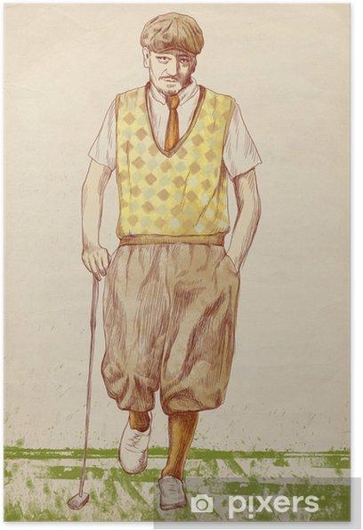 Poster Golfspeler (originele full-size tekening) - Individuele sport