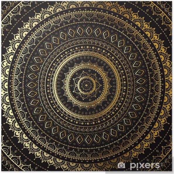 Poster Goud Mandala. Indiase decoratief patroon. - Thema's