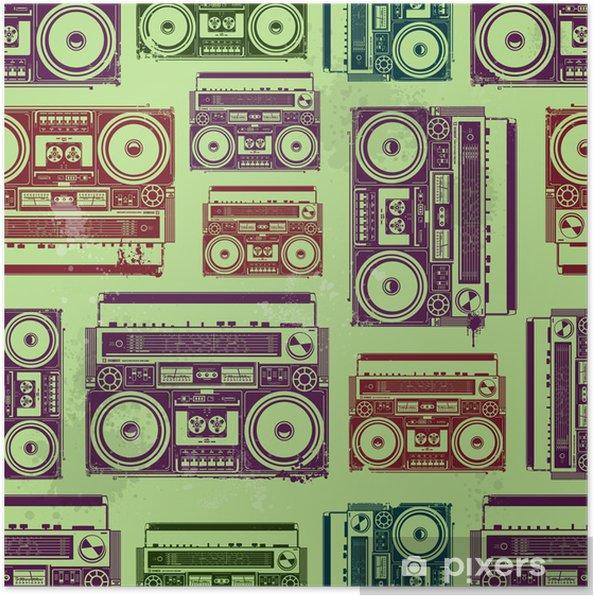 Póster Grabadoras de cinta de la vieja escuela en el estilo psicodélico - Texturas