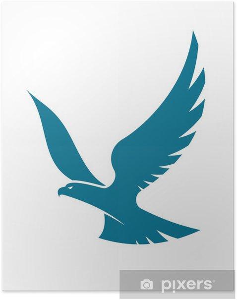 Graceful flying eagle Poster