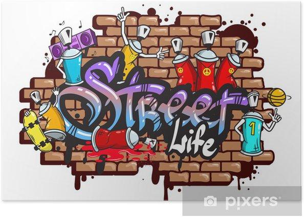Poster Graffiti composition des caractères de texte - Sticker mural