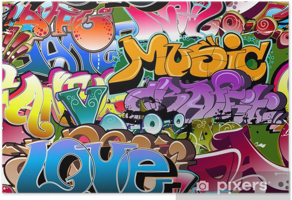 Poster Graffiti de fond sans soudure. Art Hip-hop -