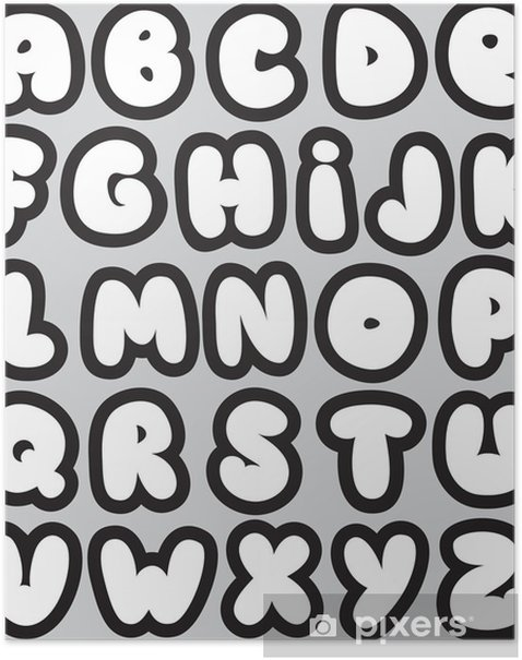 Graffiti font alphabet different letters  Vector Poster