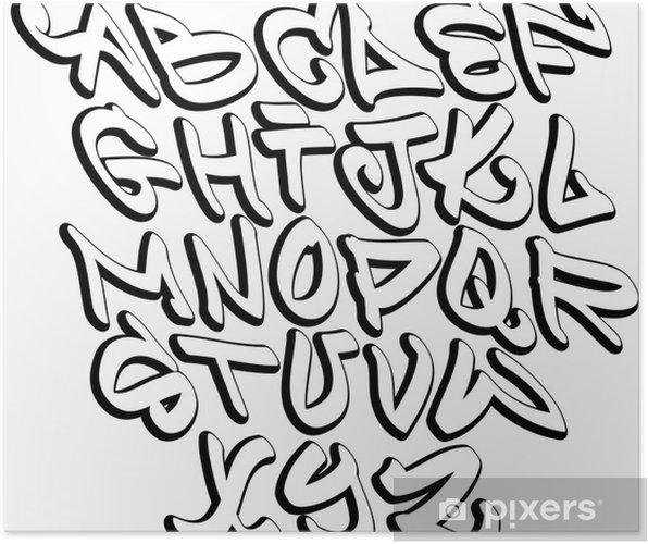 Poster graffiti lettres de l 39 alphabet de police hip hop type de conception de graffiti pixers - Lettre graffiti alphabet ...