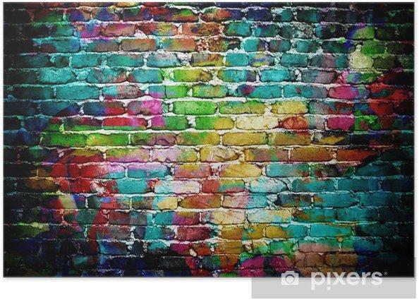 Poster Graffiti mur de brique -