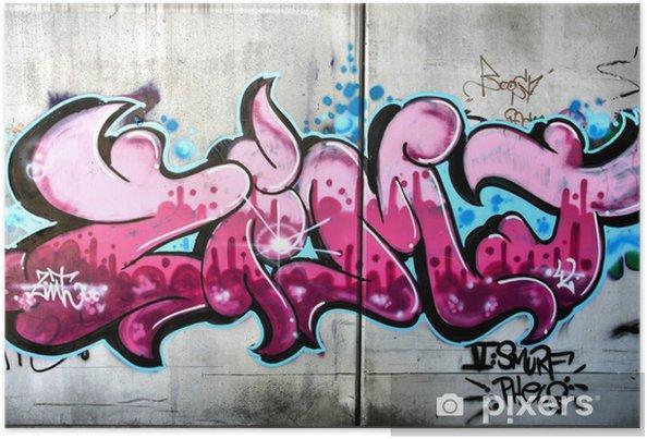 Poster Graffiti rose à Salzbourg, en Autriche. Art ou vandalisme urbain. - Thèmes