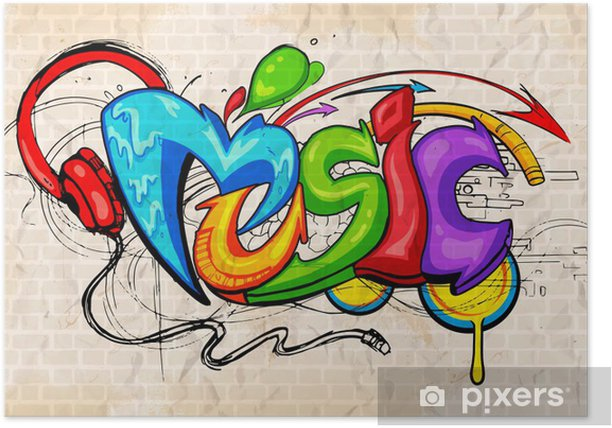 Poster Graffiti-stijl Muziek achtergrond - Thema's