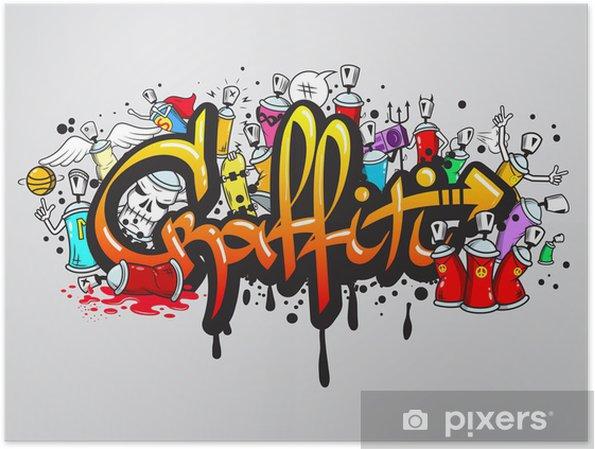 Poster Graffiti tekens samenstelling afdrukken -