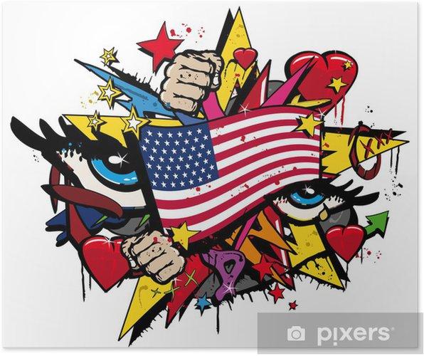 Poster Graffiti USA sjunker pop konst illustration - Väggdekor
