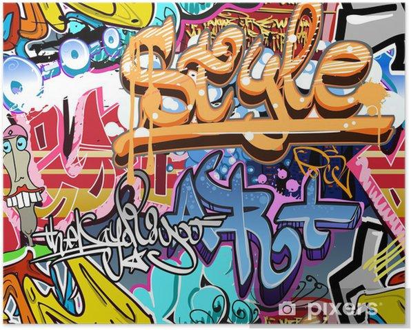 Graffiti wall. Urban art vector background. Seamless texture Poster - Themes