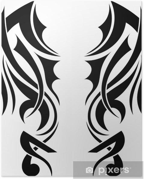 Poster Grafisch Ontwerp Tribal Tattoo Vleugels