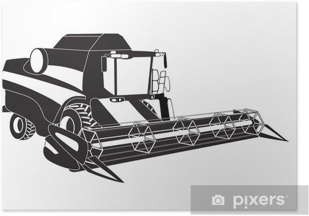 Poster Grain moissonneuse-batteuse. Vector illustration. - Agriculture