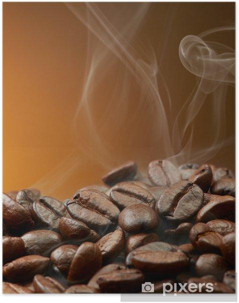 Poster Grains de café avec de la fumée - Thèmes