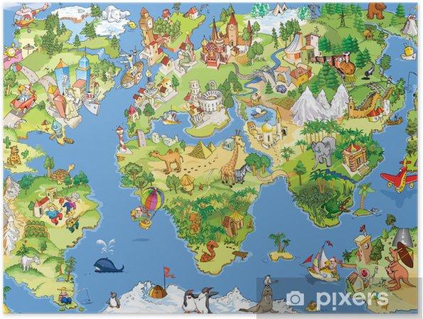 Póster Gran mundo divertido y mapa -