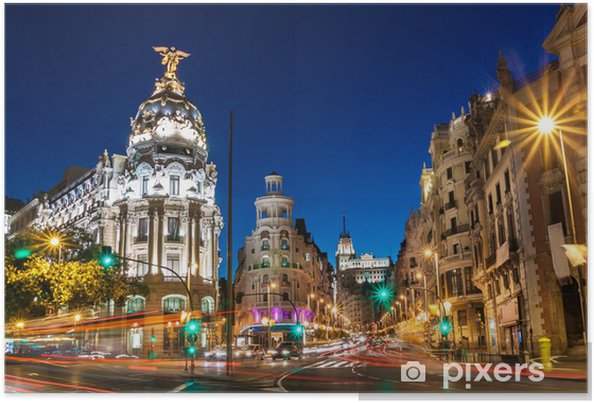 Póster Gran Via en Madrid, España, Europa. - Temas