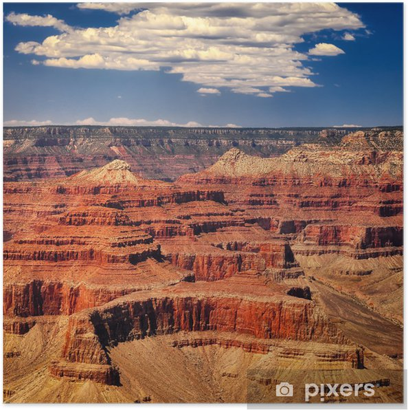 Poster Grand Canyon livlig dag med vita moln, fyrkant format - Amerika