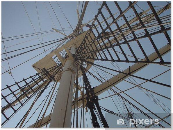 Poster Grand voilier travaux sur corde - Amérique