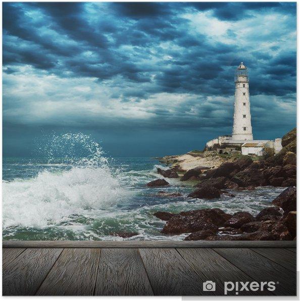 Poster Grande vague de l'océan, le phare et la jetée en bois - Phare