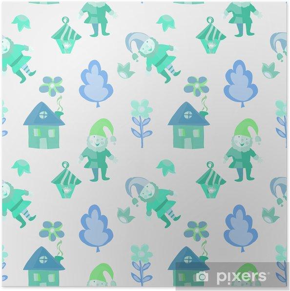 Poster Grappige kleurrijke gnome maken huis, lantaarn, bloemen naadloze patroon voor kinderen - Grafische Bronnen