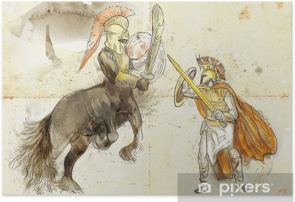 Greek myth and legends (Full sized drawing) - Centaur, Theseus Poster - Imaginary Animals