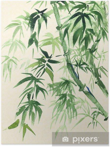 Poster Green Bamboo, peint à l'aquarelle dans un style oriental - Thèmes