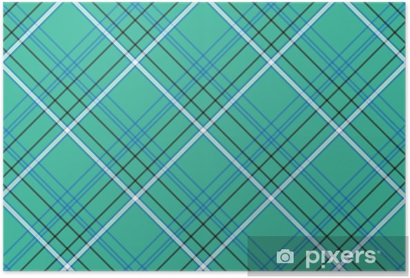 Green blue background check seamless fabric texture Poster