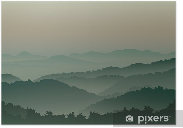Green mountains in fog Poster - Mountains