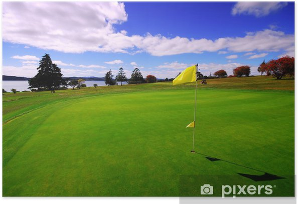 Green on beautiful Golf Course Poster - Golf
